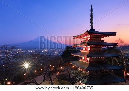 Mt. Fuji With Chureito Pagoda In Sunset, Fujiyoshida, Japan