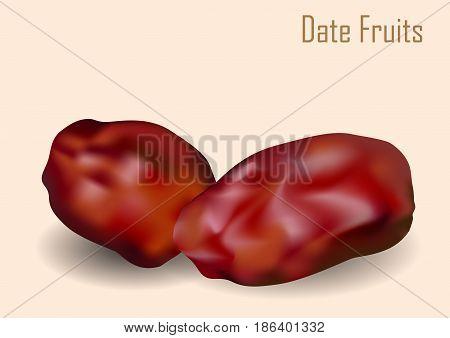 Dates. dried dates (Ramadan Iftar food) fruit on light brown background - Vector Illustration.