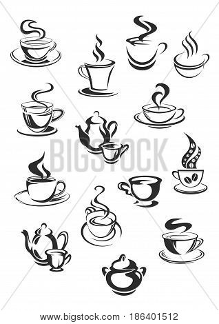Cups of coffee or tea vector isolated icons set for coffehouse, cafeteria or cafe templates or menu element. Symbols of coffee beans, teapots and steam from hot mug of chocolate frappe or americano