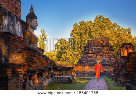 SUKHOTHAI, THAILAND - JANUARY 18 2017: Wat Mahathat Temple in the precinct of Sukhothai Historical Park, a UNESCO world heritage site.