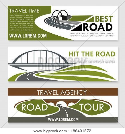 Road travel and car trip banner template set. Road bridge, asphalt highway and speedy freeway symbols for holiday journey, road tour, travel agency flyer or poster design