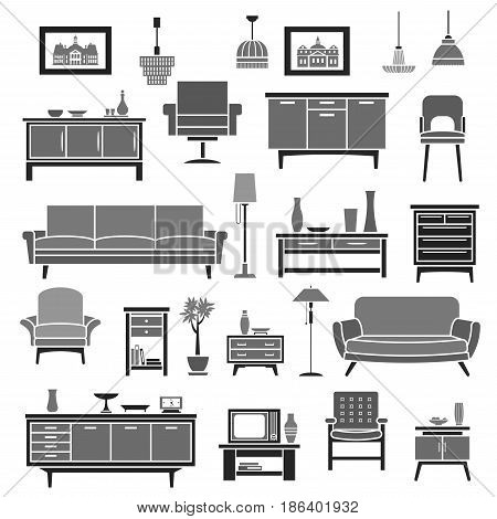 Furniture pieces. Sofa and armchair, chest or wardrobe and table. Vector set of chair, floor lamp or flower vase and wall clock, picture or photo frame on tv stand or bookshelf and cupboard