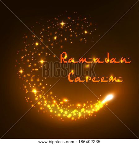 Ramadan Kareem greeting card of Arabic text letters. Vector design of shining crescent moon and twinkling stars for Muslim Ramadan holiday or Islamic religious celebration