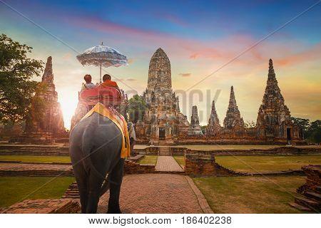 Wat Chaiwatthanaram temple in Ayuthaya Historical Park, a UNESCO world heritage site in Thailand