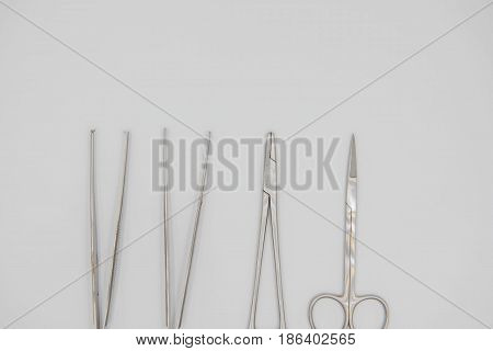 Top view Medical equipment on a white background. Medical concept .