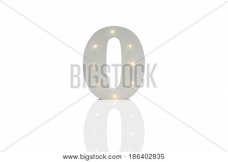 Decorative Number Zero With Embedded Led Lights Over White Background