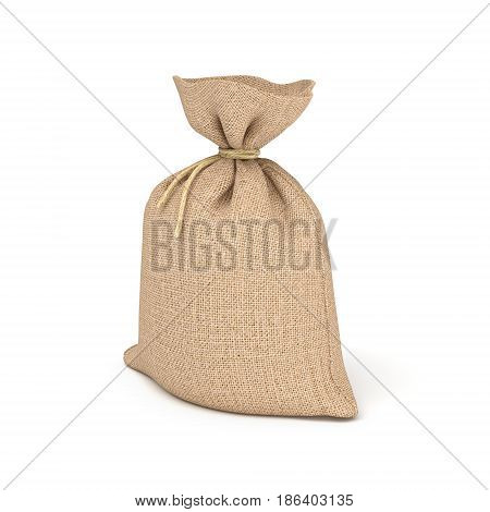 3d rendering of burlap bag isolated on white background. Earning and spending money. Wealth and poverty. Bank deposits.