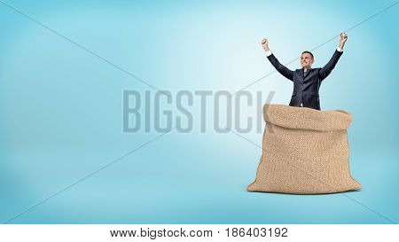 A smiling businessman standing with hands raised up in an open brown sack. Personal capital. Calculating profit. Deposits and investment.