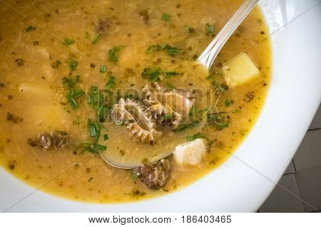Soup With Potatoes And Morel Mushrooms