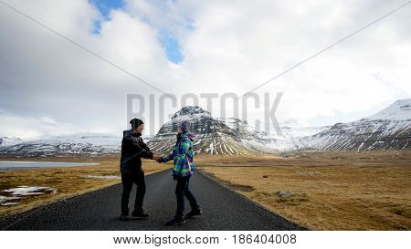 Asian Senior Couple Abstract Together Forever Love. Retirement Trip To Iceland Financial Free