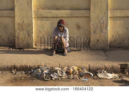 Alone Homeless Man