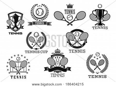 Tennis club isolated vector icons of of tennis ball and rackets, victory laurel wreath ribbon and winner cup goblet with crown of stars for sport championship or tournament prize symbols