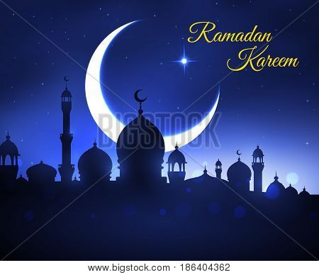 Ramadan Kareem greeting card. Muslim mosque silhouette on night sky background with moon crescent and shining stars for religion festival of holy month Ramadan poster design