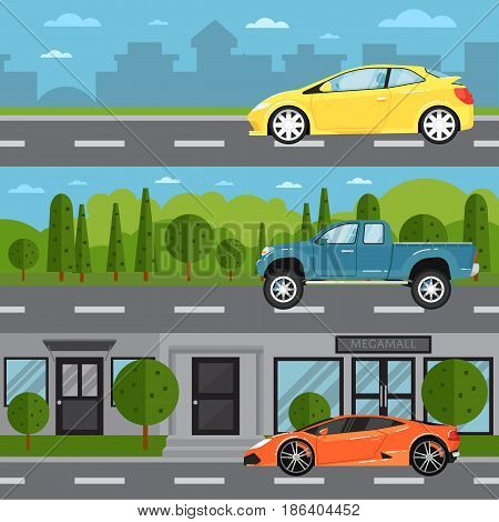 Sport car, universal and pickup on highway. Road traffic vector illustration set with countryside and cityscape background. Modern automobile, people transportation, auto vehicle in flat design