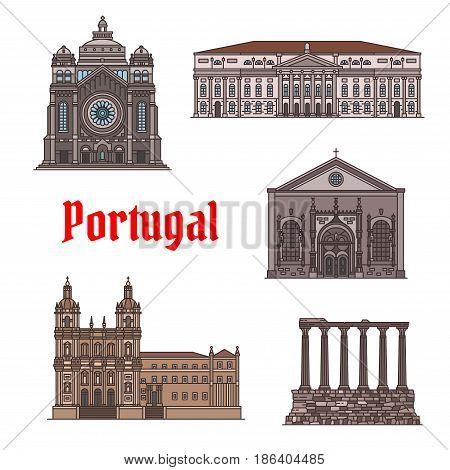 Portuguese travel landmark of famous architectural sights thin line icon set. Basilica of Santa Luzia, Monastery of Sao Vicente de Fora, Temple of Diana, National Theatre, Church of Nossa Senhora