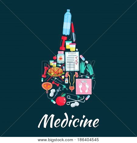 Medical enema symbol with pill, capsule, water, weight loss medication, weight scales, urinary system, kidney, fast food, apple, urologist tool and dumbbell. Dietetics and urology medicine design