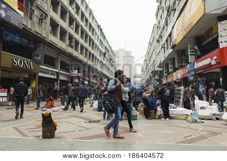 DELHI INDIA-DEC 13 : crowd of people in nehru place of Delhi on december 13 2014 india. nehru place is biggest computer market of delhi