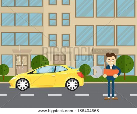 Car repairs banner with businessman standing near broken car on road. Vector illustration for automobile repair service, auto assistance, car help. Road accident or car trouble in urban cityscape