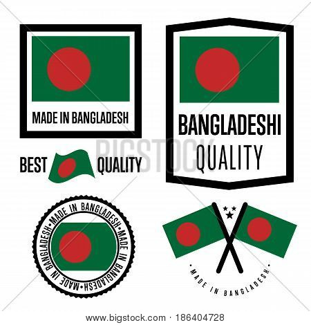 Bangladesh quality isolated label set for goods. Exporting stamp with bangladeshi flag, nation manufacturer certificate element, country product vector emblem. Made in Bangladesh badge collection.