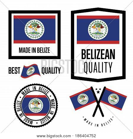 Belize quality isolated label set for goods. Exporting stamp with belizean flag, nation manufacturer certificate element, country product vector emblem. Made in Belize badge collection.