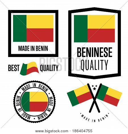 Benin quality isolated label set for goods. Exporting stamp with beninese flag, nation manufacturer certificate element, country product vector emblem. Made in Benin badge collection.