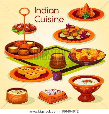 Indian cuisine lunch with dessert cartoon icon. Chicken baked with vegetable, potato samosa, tomato yogurt sauce, mushroom stew, rice dessert with nut, deep fried milk cake, semolina pastry