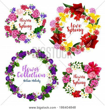 Spring flower wreath and floral frame border of rose, narcissus, crocus, peony, bell flower, violet, jasmine, carnation, calla, wild flower and green leaves. Spring greetings, floral decoration design