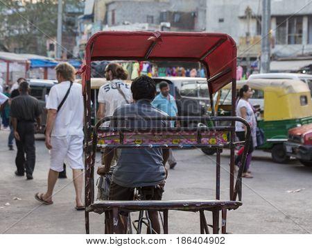 DELHI INDIA - OCT 23 : rickshaw in paharganj near Ramakrishana Asharm Marg Metro Station of Delhi on october 23 2015 india. rickshaw is three wheeler taxi for local area of Delhi
