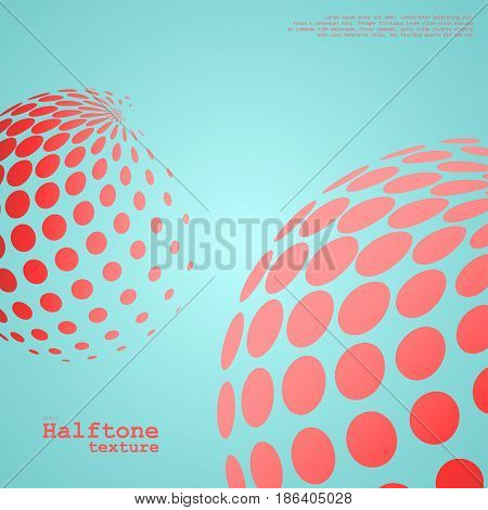 Abstract background of the halftone spheres in red color on compliment color background and with example of text, created for business advertising, presentation, logo, web