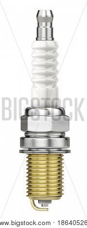 New Spark plug isolated on white background. 3d render
