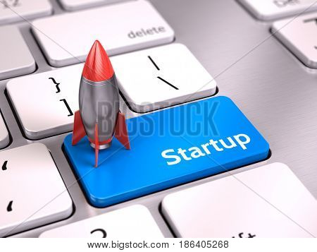 Rocket on Blue startup button on keyboard - start up concept. 3d render