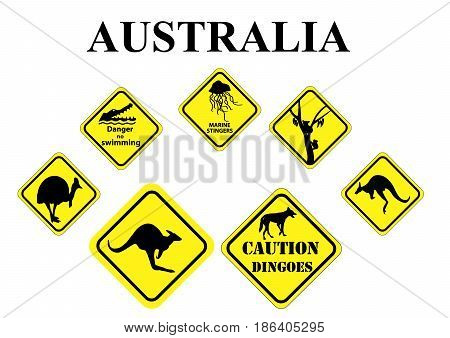 set of yellow Australian wild life signs