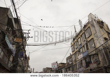 DELHI INDIA - MAR 15 : scene of building in marketplae at chawri bazar in old delhi of Delhi on march 15 2015 india.