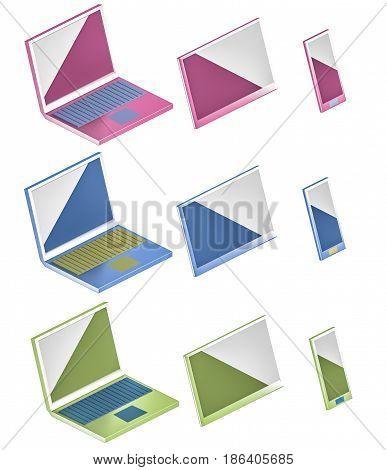 computer, phone and tablet icons of different colours 3d illustration