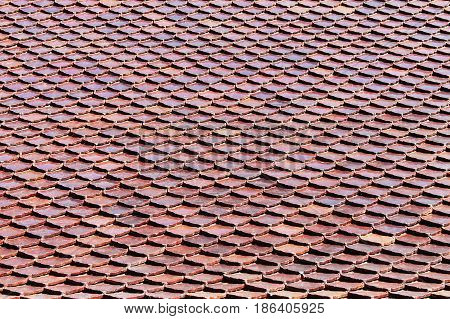 photo of the tiled roof background pattern