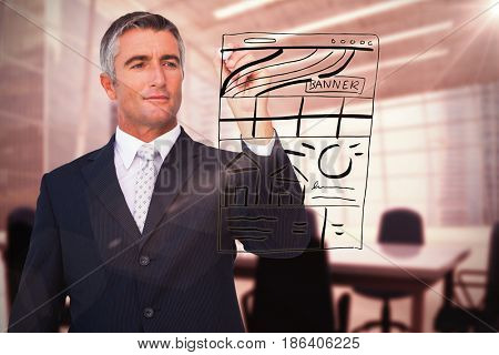 Handsome businessman writing with marker against computer generated image of empty board room
