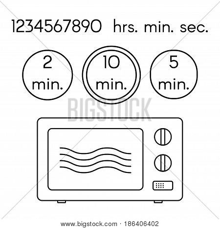 Cooking signs, for manuals on packing. Preparing microwave instruction icons set. Isolated objects.