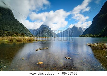 Mountain View from Milford Sound Fjords of New Zealand.