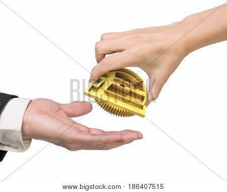 Woman Hand Giving Currency Symbol Gear To Man Hand