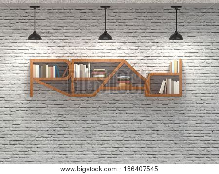 Read Word Bookcase On Brick Wall With Ceiling Lamps