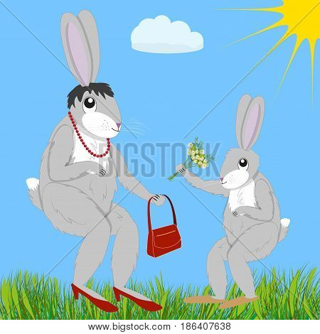 Little hare gives bouquet of chamomiles to mother-hare on a sunny day, vector illustration