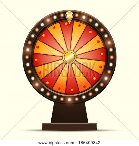 Vector cartoon illustration of a glowing wheel fortune or luck isolated on a light background
