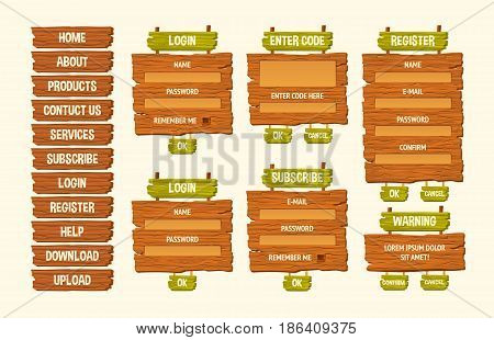Set of vector cartoon illustrations wooden signs, components for game development, gui design elements