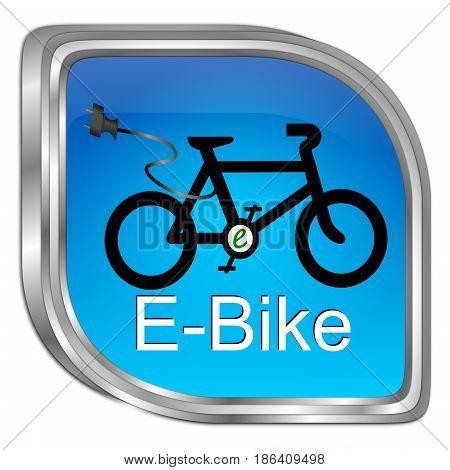 glossy blue E-Bike Button - 3D illustration