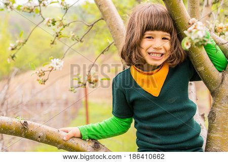 Cheerful little boy climbing in the tree