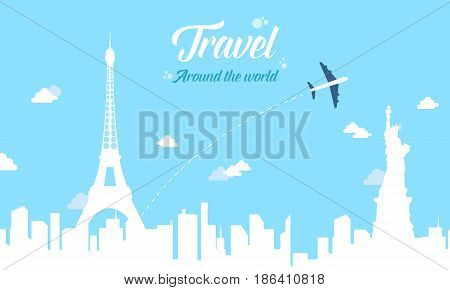 Collection stock of travel style background vector illustration