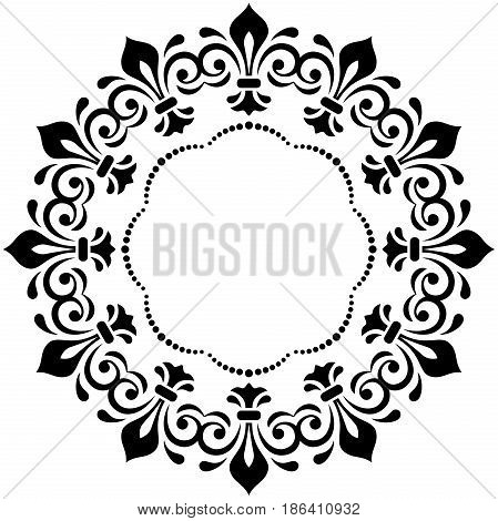 Oriental vector pattern with arabesques and floral elements. Traditional classic ornament. Vintage round black pattern with arabesques