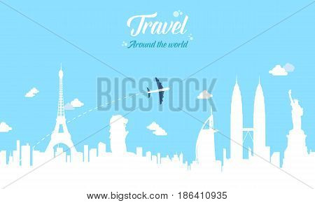Collection stock travel on the world vector illustration