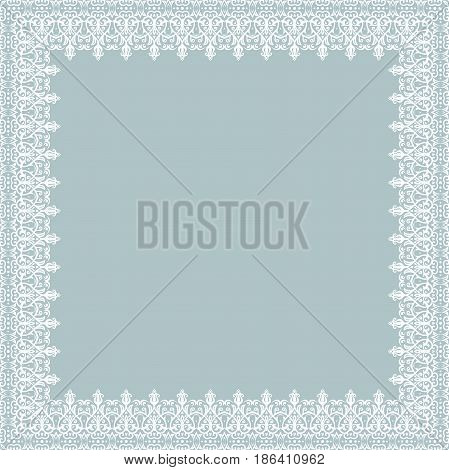 Classic vector square frame with arabesques and orient elements. Abstract ornament with place for text. Vintage light blue and white pattern