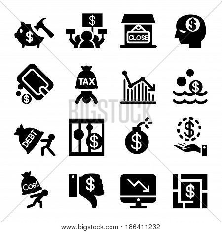Business crisis icon set Vector illustration Graphic design